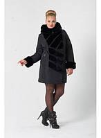 Комбинированная куртка с мехом и широким воротником-стойка