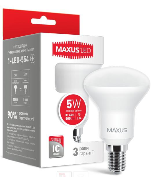 LED лампа Maxus R50 5W Яркий свет  220V Е 14(1-LED-554)