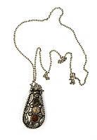 """Аромакулон бронзовый с камнями """"Лист"""" 6х3х2см (21815A)"""