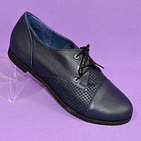 Женские синие кожаные туфли на шнуровке, в наличии 36 размер, фото 1