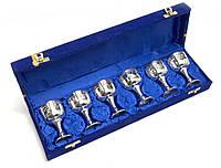 Бокалы бронзовые посеребренные h-8см набор 6шт 38х11х6см (29347)