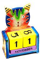 """Календарь настольный """"Кот"""" дерево 10х13см (29614)"""
