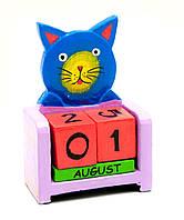 """Календарь настольный """"Кот"""" дерево 10х7,5х4см (29431A)"""
