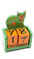 """Календарь настольный """"Кот"""" дерево 17х10х5см (29639)"""