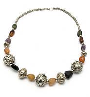 Ожерелье из агата и металла 25см (29294)