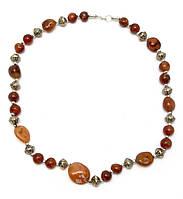 Ожерелье из агата и металла 28см (29295)