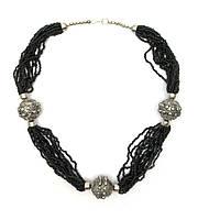 """Ожерелье из биссера и металла """"Черное"""" 35см (28204B)"""