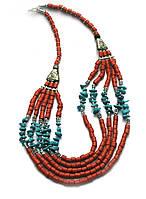 Ожерелье из коралов и бирюзы 31см (27845)