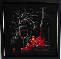 Вышитая крестом картина Натюрморт с бокалом вина