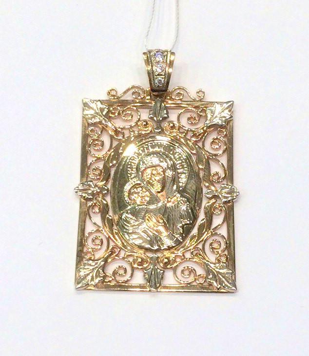 Золотая ладанка Божья матерь с младенцем