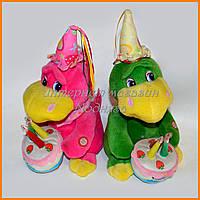 Озвученные игрушки Драконы с тортом 30 см| Игрушки ко дню Рождения