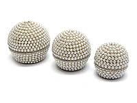 Шкатулки с жемчугом металлические набор 3шт d-10 h-8см;d-8 h-7см;d-7 h 6см (29341)