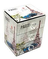 """Шкатулка для украшений """"Париж""""с зеркальцем стеклянная 15х12х9,5см (29662B)"""