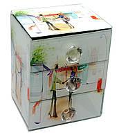 """Шкатулка для украшений """"Рандеву""""с зеркальцем стеклянная 15х12х9,5см (29662A)"""