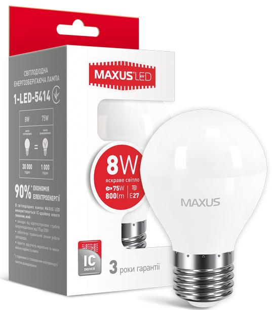 LED лампа Maxus G45 F 8W Яркий свет  220V Е27