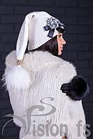 Белая вязанная шапка с помпоном Florentino