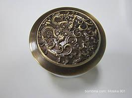 Пробка - сифон Click Clack c орнаментом (античная латунь)