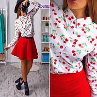 Костюм рубашка с вишнями и короткая юбка из неопрена Kb65