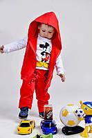 Костюм Детский двунитка тройка Микки-Маус красный (девочка и мальчик)