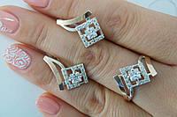 Украшения из серебра с золотыми вставками - серьги и кольцо