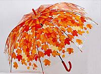 """Зонт - трость прозрачный """"Листья"""" оранжевый"""
