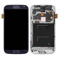 Дисплей для Samsung I9500 Galaxy S4 + с сенсором (тачскрином) и рамкой Blue