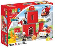 Конструктор JDLT 5155 Пожарная станция. 63 детали, свет и звук