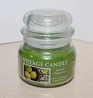 """Ароматическая свеча """"Лимон-Фисташки"""" в стекле Village Candle. 315 гр/ 55 часов"""