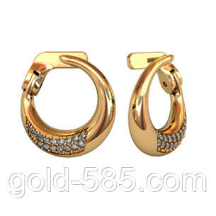 8a4592ce29e6 Округлые дутые золотые серьги 585  пробы с мелкими Фианитами - Мастерская  ювелирных украшений «GOLD