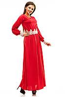 Красивое однотонное женское платье в пол с кружевной отделкой красное