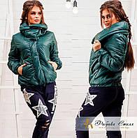Зеленая модная курточка с двойным воротником. Арт-8614/72