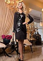 Элегантное Деловое Платье из Замши с Кожаными Вставками Черное M-2XL