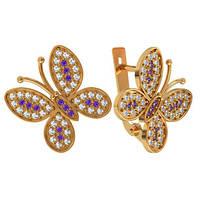 Прелестные золотые серьги 585* пробы в форме бабочек