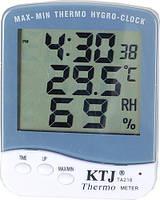 Термометр с гигрометром и часами KTJ-TA218B