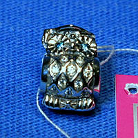 Серебряный шарм для браслетов Сова с камнями 3011