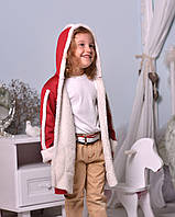 Дублёнка пальто детская бордовая с капюшоном
