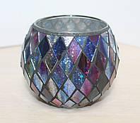 """Подсвечник стеклянный Village Candle """"Фиолетовый Арлекин"""""""