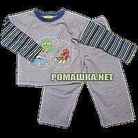 Детская плотная пижама для мальчика р. 104 ткань ФУТЕР ДВУХНИТКА ТМ Мамина мода 3217 Серый
