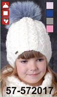 Шапка для девочки с натуральным мехом арт. 57-572017