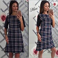 Модное свободное платье с кожаными рукавами