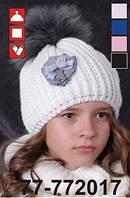 Шапка для девочки с натуральным мехом арт. 77-772017