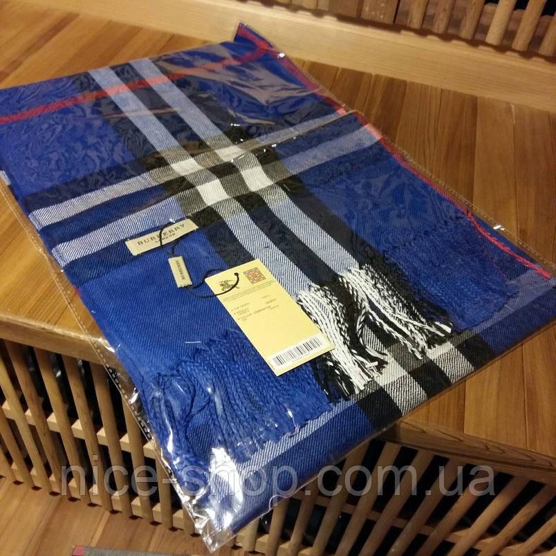 Шарф Барберри синий с бахромой, фото 2