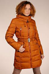 Теплый женский терракотовый натуральный пуховик гусиный пух с капюшоном  SNOW CLASSIC скидка