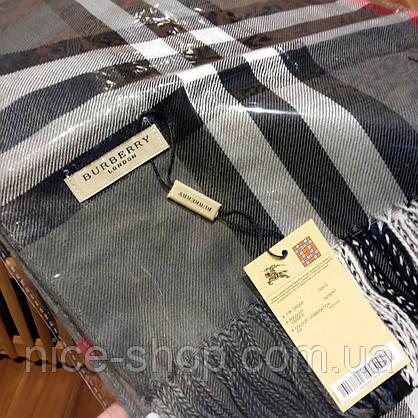 Шарф Барберри серый с бахромой, фото 2