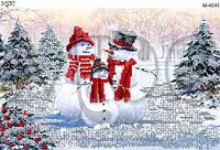 Схема для вышивки бисером Снеговики