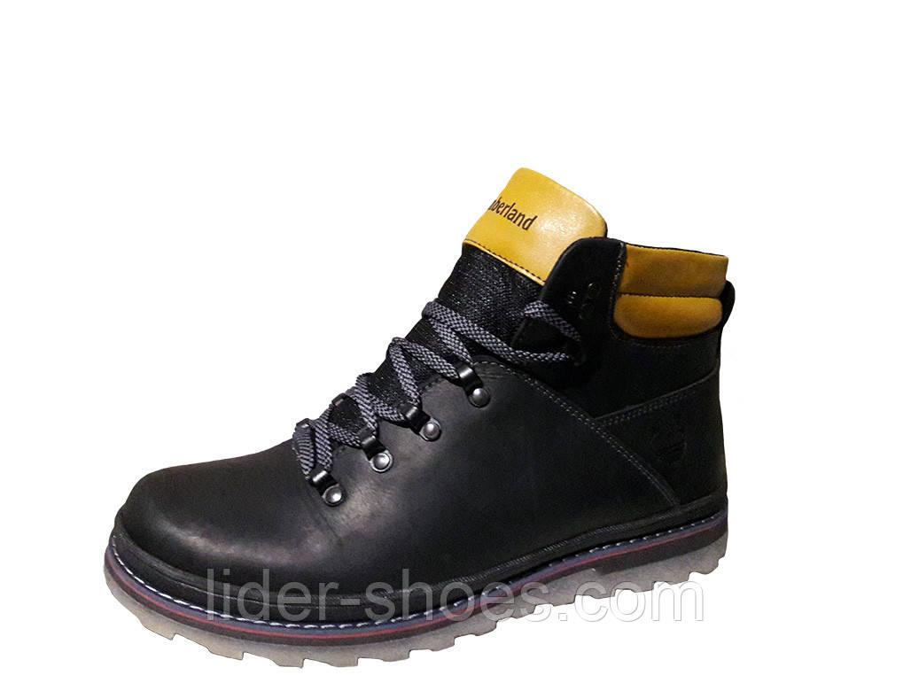 Мужские зимние ботинки реплика Timberland чёрного цвета
