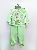 Трикотажная пижама Веселый зайка (зеленая), байка