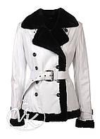 Белая кожаная куртка с мехом , фото 1