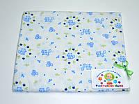Фланелевые (байковые) пеленки  (белая с голубыми котиками)