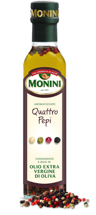 Оливкова олія чотири перцю Monini Quattro pepi extra vergine, 250 мл.